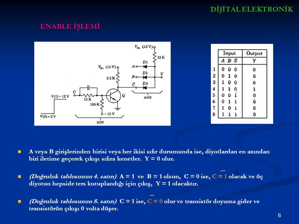 7 Şekil (b), Kare dalga giriş V 1 değerinde transistör doyumdadır, V 2 değerinde kesimdedir.