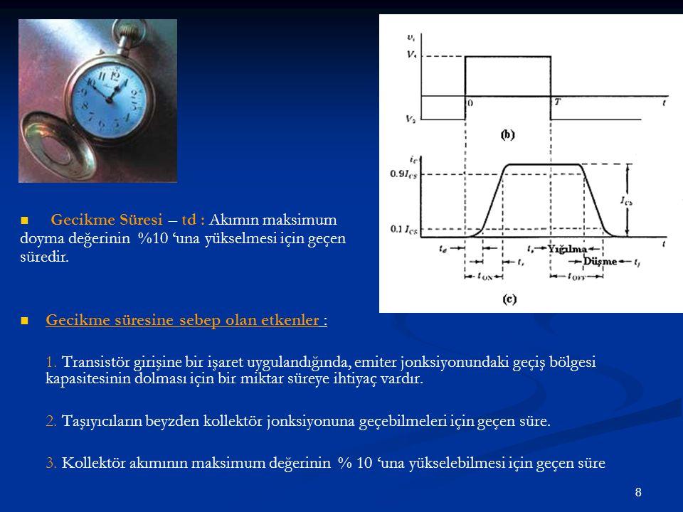 9 Yükselme ve Düşme Süreleri: (tr) ve (tf ): Ic akımının maksimum değerinin % 10 'undan % 90 'ına yükselmesi için geçen süre yükselme süresidir.