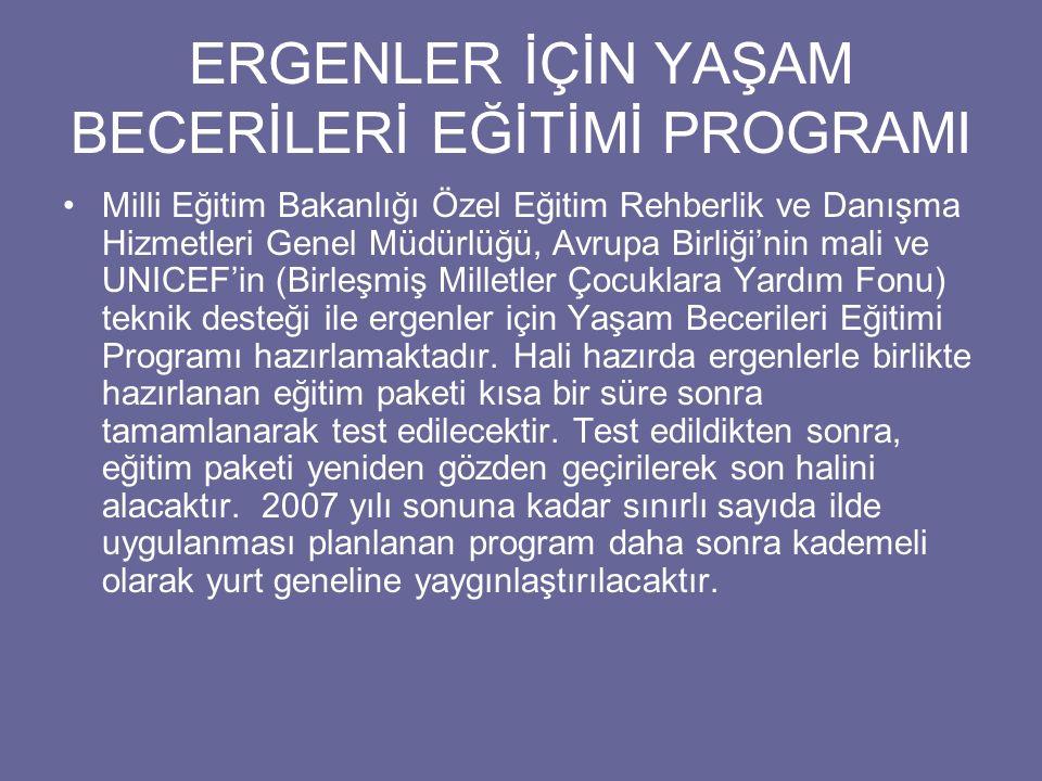 ERGENLER İÇİN YAŞAM BECERİLERİ EĞİTİMİ PROGRAMI Milli Eğitim Bakanlığı Özel Eğitim Rehberlik ve Danışma Hizmetleri Genel Müdürlüğü, Avrupa Birliği'nin