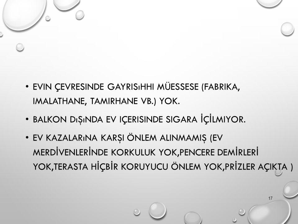 EVIN ÇEVRESINDE GAYRISıHHI MÜESSESE (FABRIKA, IMALATHANE, TAMIRHANE VB.) YOK.
