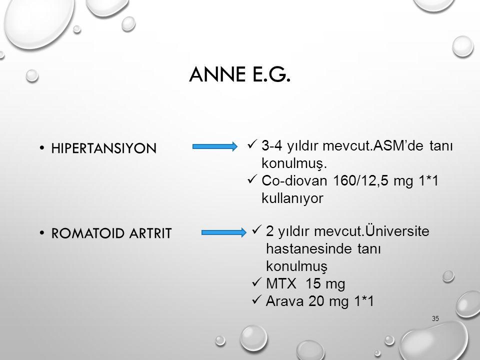 ANNE E.G. HIPERTANSIYON ROMATOID ARTRIT 35 3-4 yıldır mevcut.ASM'de tanı konulmuş. Co-diovan 160/12,5 mg 1*1 kullanıyor 2 yıldır mevcut.Üniversite has