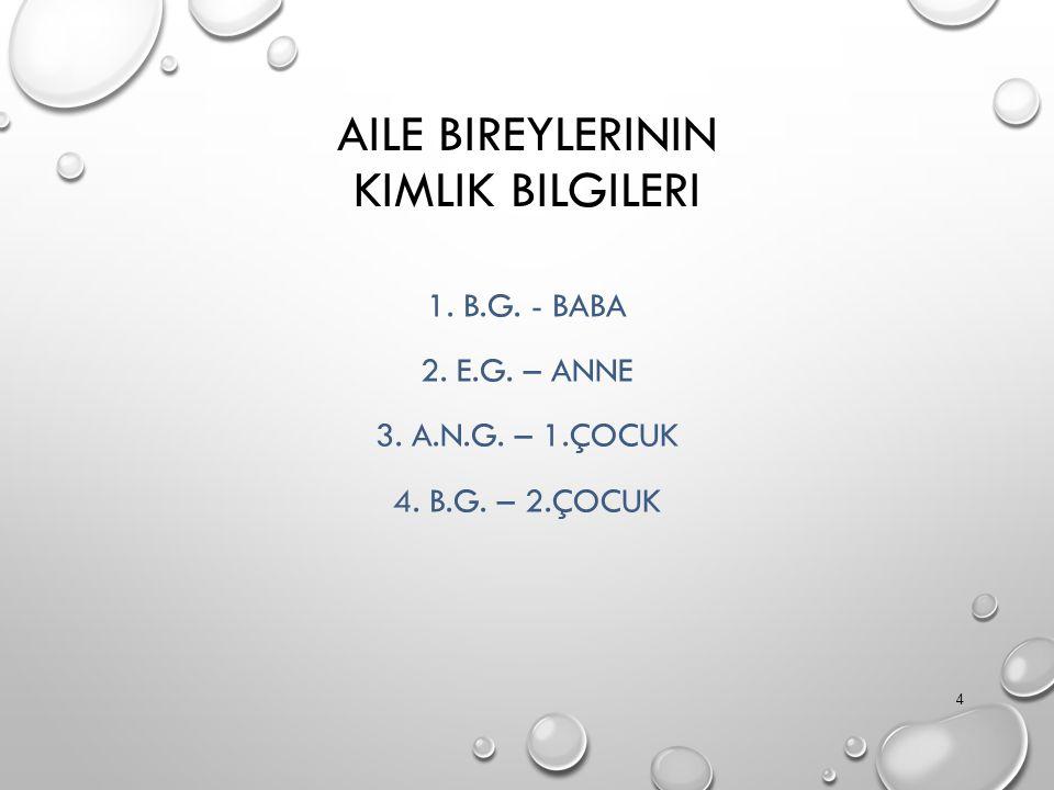 AILE BIREYLERININ KIMLIK BILGILERI 1. B.G. - BABA 2.