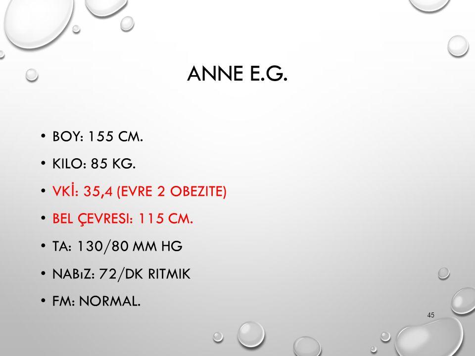 ANNE E.G. BOY: 155 CM. KILO: 85 KG. VK İ : 35,4 (EVRE 2 OBEZITE) BEL ÇEVRESI: 115 CM. TA: 130/80 MM HG NABıZ: 72/DK RITMIK FM: NORMAL. 45
