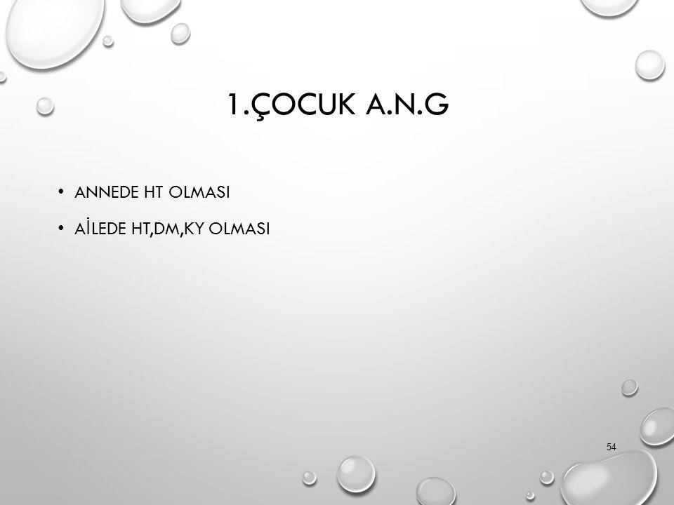 1.ÇOCUK A.N.G ANNEDE HT OLMASI A İ LEDE HT,DM,KY OLMASI 54