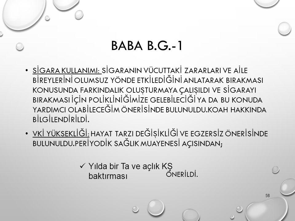 BABA B.G.-1 S İ GARA KULLANIMI: S İ GARANIN VÜCUTTAK İ ZARARLARI VE A İ LE B İ REYLER İ N İ OLUMSUZ YÖNDE ETK İ LED İĞİ N İ ANLATARAK BIRAKMASI KONUSU