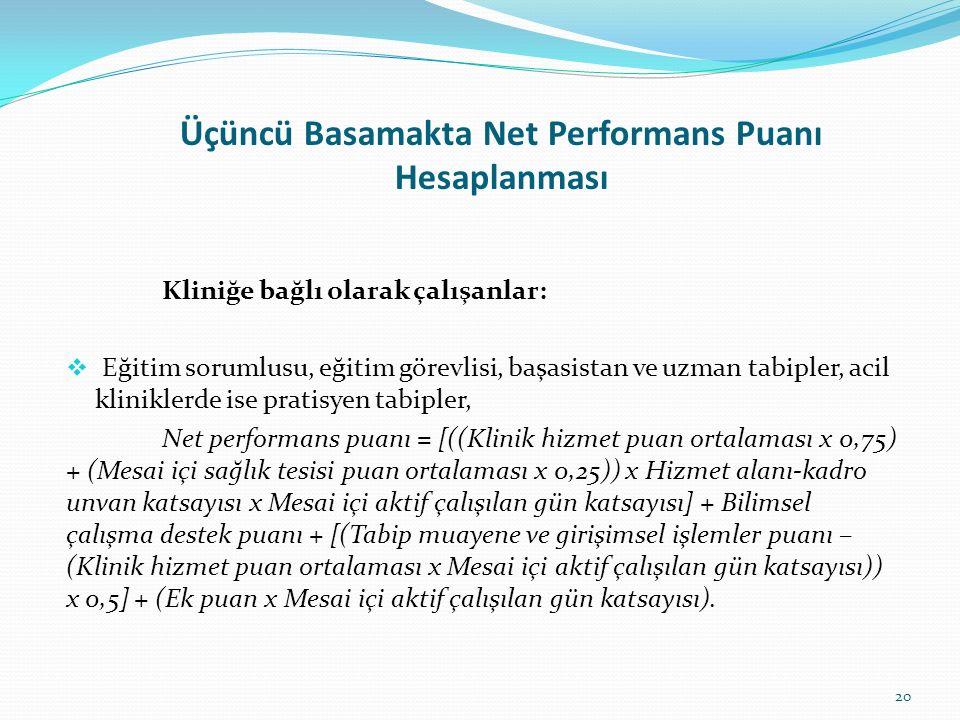 Üçüncü Basamakta Net Performans Puanı Hesaplanması Kliniğe bağlı olarak çalışanlar:  Eğitim sorumlusu, eğitim görevlisi, başasistan ve uzman tabipler