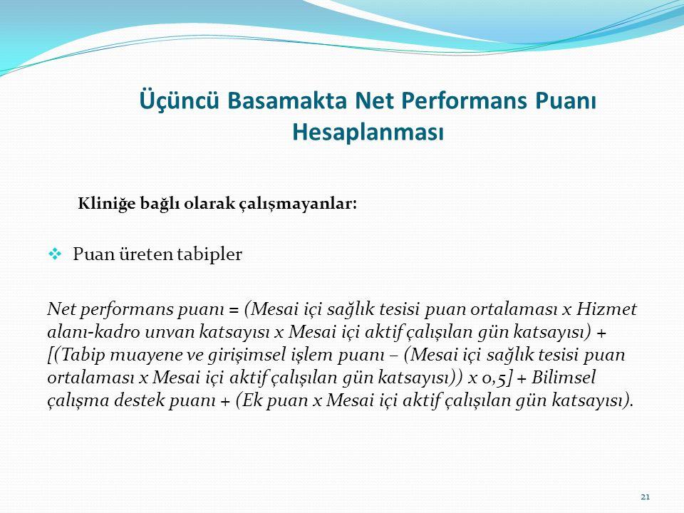 Üçüncü Basamakta Net Performans Puanı Hesaplanması Kliniğe bağlı olarak çalışmayanlar:  Puan üreten tabipler Net performans puanı = (Mesai içi sağlık
