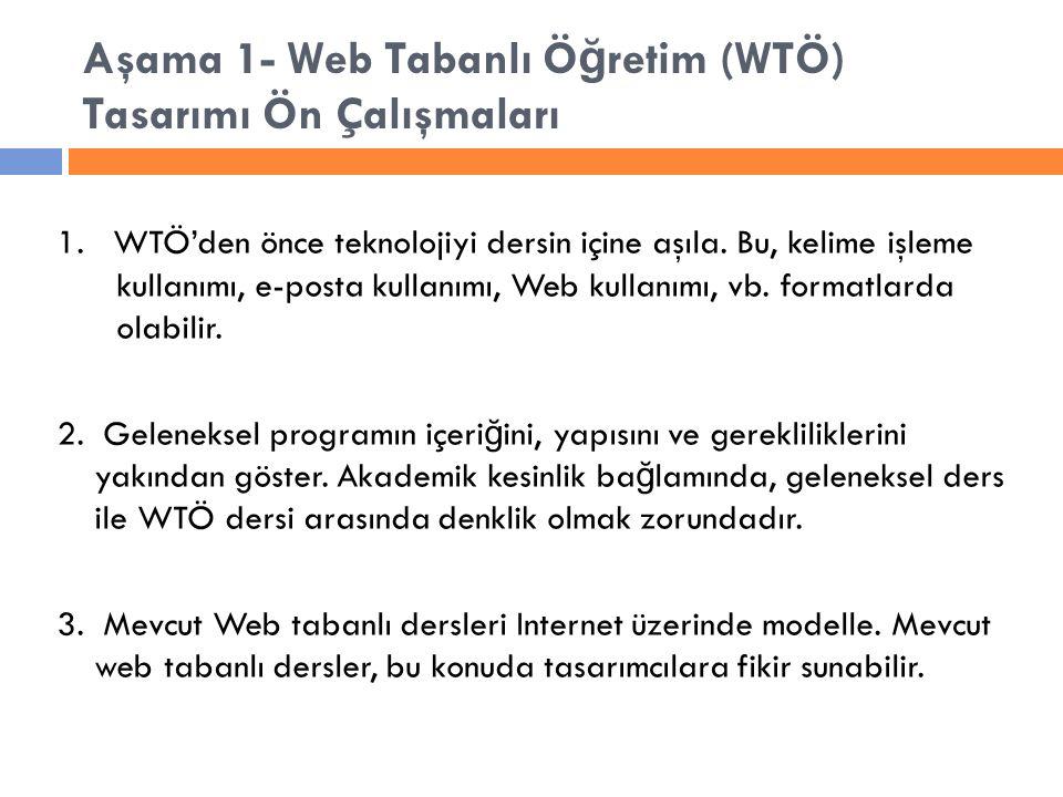 Aşama 1- Web Tabanlı Ö ğ retim (WTÖ) Tasarımı Ön Çalışmaları 1.