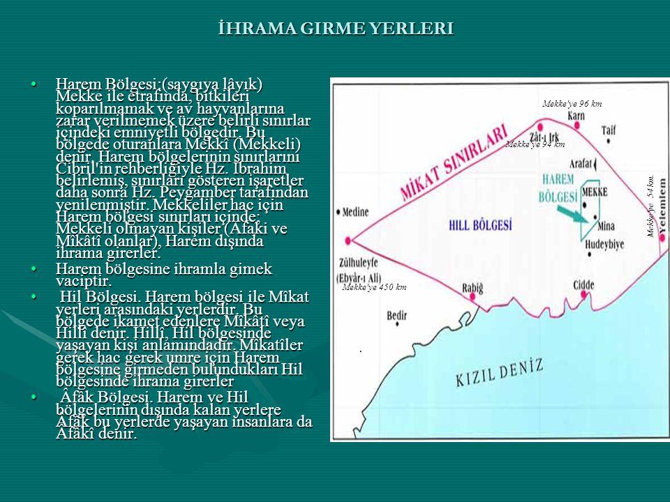 İHRAMA GIRME YERLERI Harem Bölgesi:(saygıya lâyık) Mekke ile etrafında, bitkileri koparılmamak ve av hayvanlarına zarar verilmemek üzere belirli sınırlar içindeki emniyetli bölgedir.
