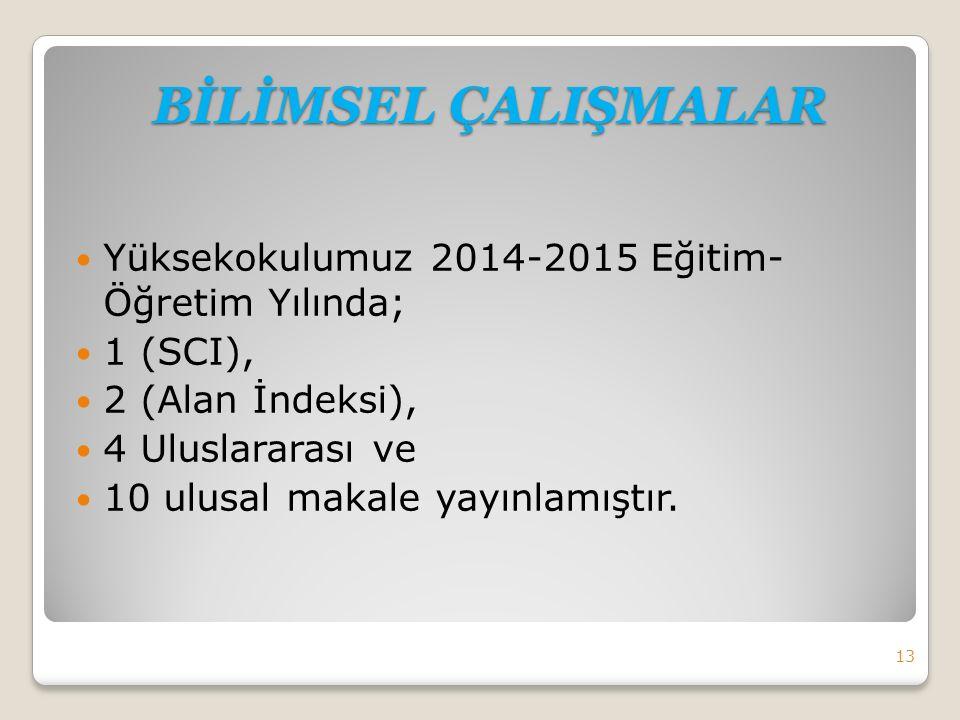 Yüksekokulumuz 2014-2015 Eğitim- Öğretim Yılında; 1 (SCI), 2 (Alan İndeksi), 4 Uluslararası ve 10 ulusal makale yayınlamıştır.