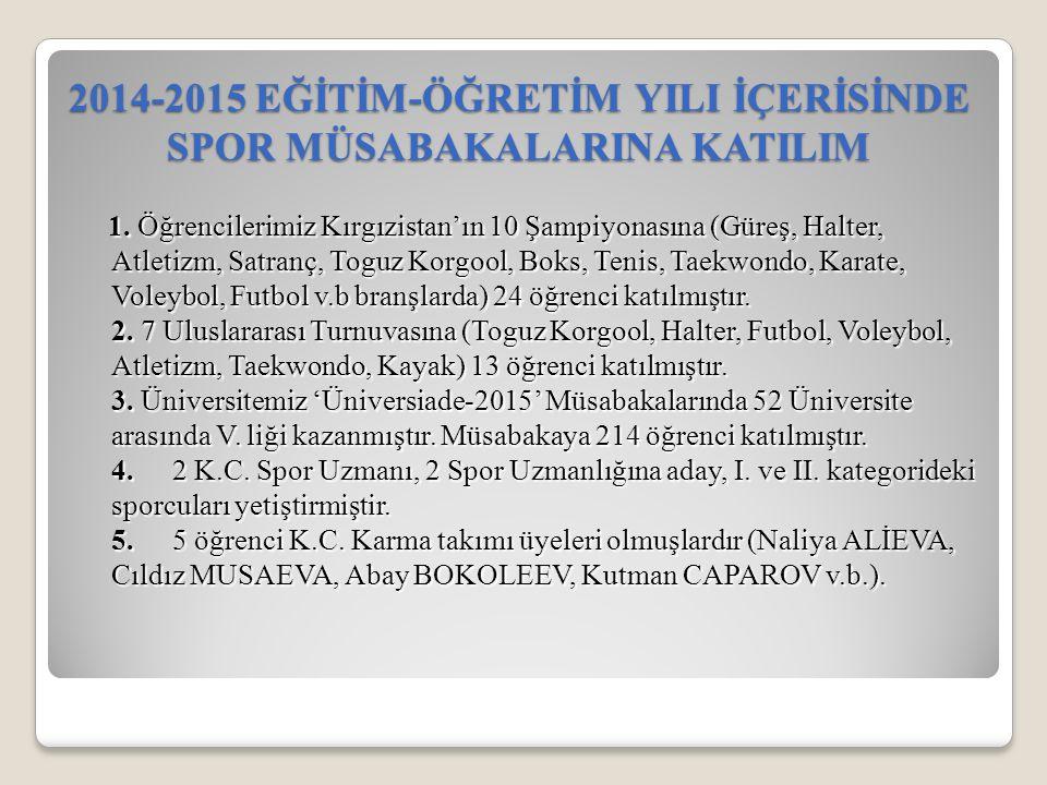 1. Öğrencilerimiz Kırgızistan'ın 10 Şampiyonasına (Güreş, Halter, Atletizm, Satranç, Toguz Korgool, Boks, Tenis, Taekwondo, Karate, Voleybol, Futbol v