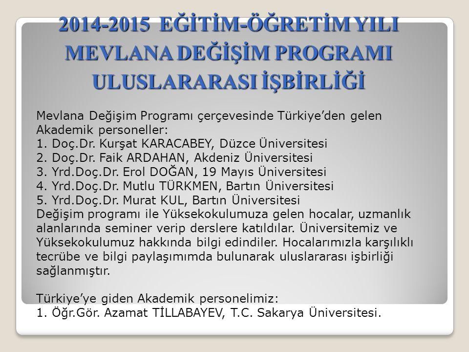 2014-2015 EĞİTİM-ÖĞRETİM YILI MEVLANA DEĞİŞİM PROGRAMI ULUSLARARASI İŞBİRLİĞİ Mevlana Değişim Programı çerçevesinde Türkiye'den gelen Akademik personeller: 1.