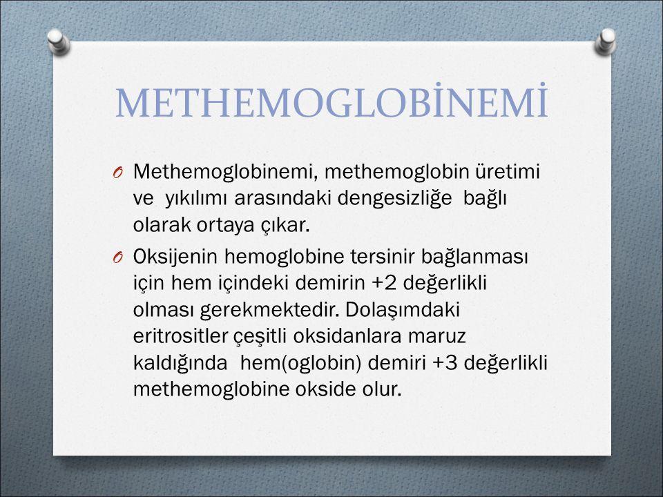 METHEMOGLOBİNEMİ O Methemoglobinemi, methemoglobin üretimi ve yıkılımı arasındaki dengesizliğe bağlı olarak ortaya çıkar.