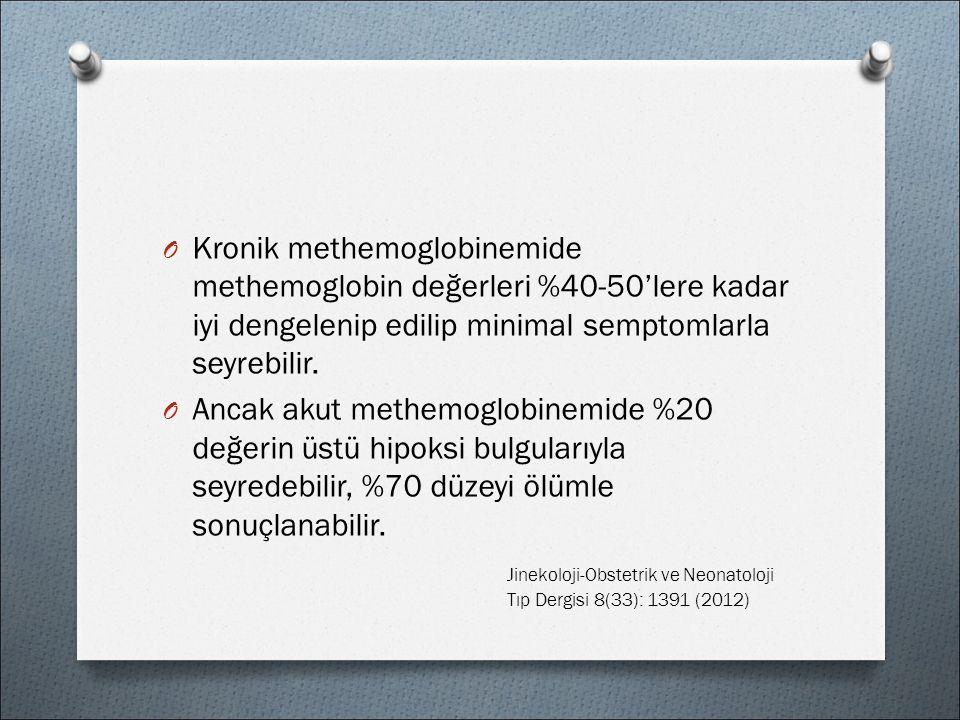O Kronik methemoglobinemide methemoglobin değerleri %40-50'lere kadar iyi dengelenip edilip minimal semptomlarla seyrebilir.
