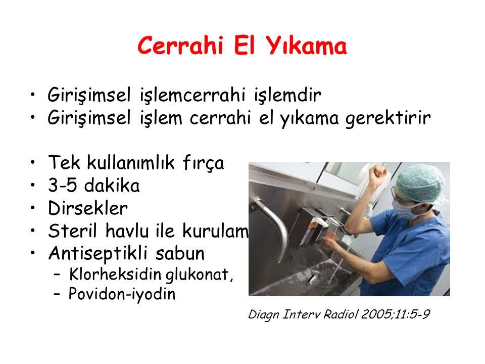 Cerrahi El Yıkama Girişimsel işlemcerrahi işlemdir Girişimsel işlem cerrahi el yıkama gerektirir Tek kullanımlık fırça 3-5 dakika Dirsekler Steril havlu ile kurulama Antiseptikli sabun –Klorheksidin glukonat, –Povidon-iyodin Diagn Interv Radiol 2005;11:5-9