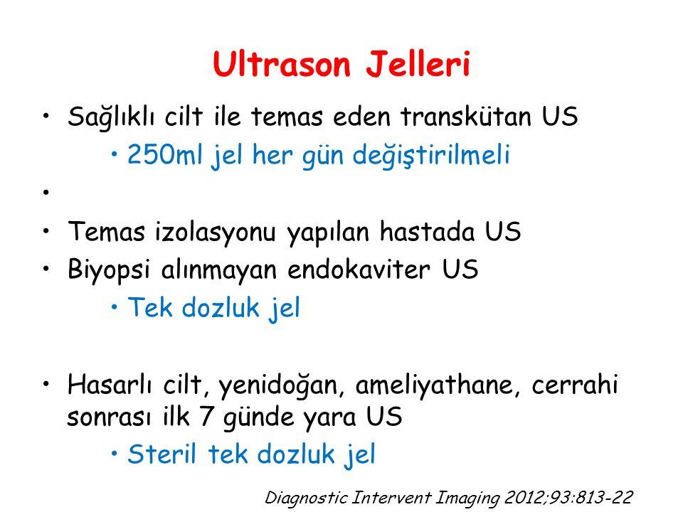Ultrason Jelleri Sağlıklı cilt ile temas eden transkütan US 250ml jel her gün değiştirilmeli Temas izolasyonu yapılan hastada US Biyopsi alınmayan endokaviter US Tek dozluk jel Hasarlı cilt, yenidoğan, ameliyathane, cerrahi sonrası ilk 7 günde yara US Steril tek dozluk jel Diagnostic Intervent Imaging 2012;93:813-22