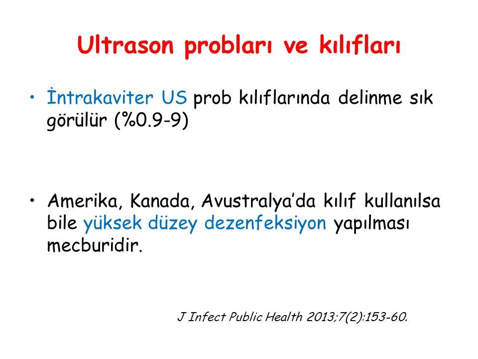 Ultrason probları ve kılıfları İntrakaviter US prob kılıflarında delinme sık görülür (%0.9-9) Amerika, Kanada, Avustralya'da kılıf kullanılsa bile yüksek düzey dezenfeksiyon yapılması mecburidir.