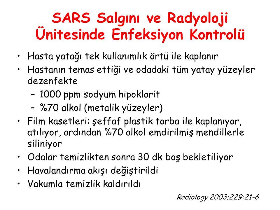 SARS Salgını ve Radyoloji Ünitesinde Enfeksiyon Kontrolü Hasta yatağı tek kullanımlık örtü ile kaplanır Hastanın temas ettiği ve odadaki tüm yatay yüz