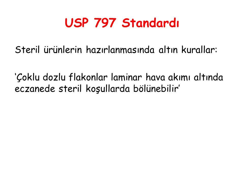 USP 797 Standardı Steril ürünlerin hazırlanmasında altın kurallar: 'Çoklu dozlu flakonlar laminar hava akımı altında eczanede steril koşullarda bölüne