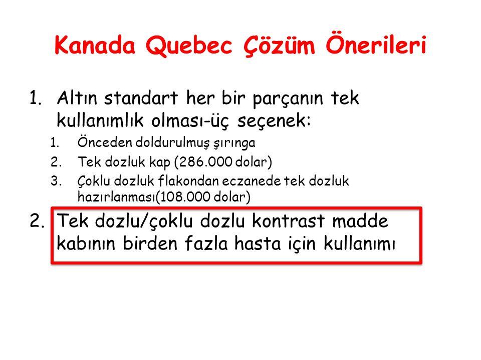 Kanada Quebec Çözüm Önerileri 1.Altın standart her bir parçanın tek kullanımlık olması-üç seçenek: 1.Önceden doldurulmuş şırınga 2.Tek dozluk kap (286