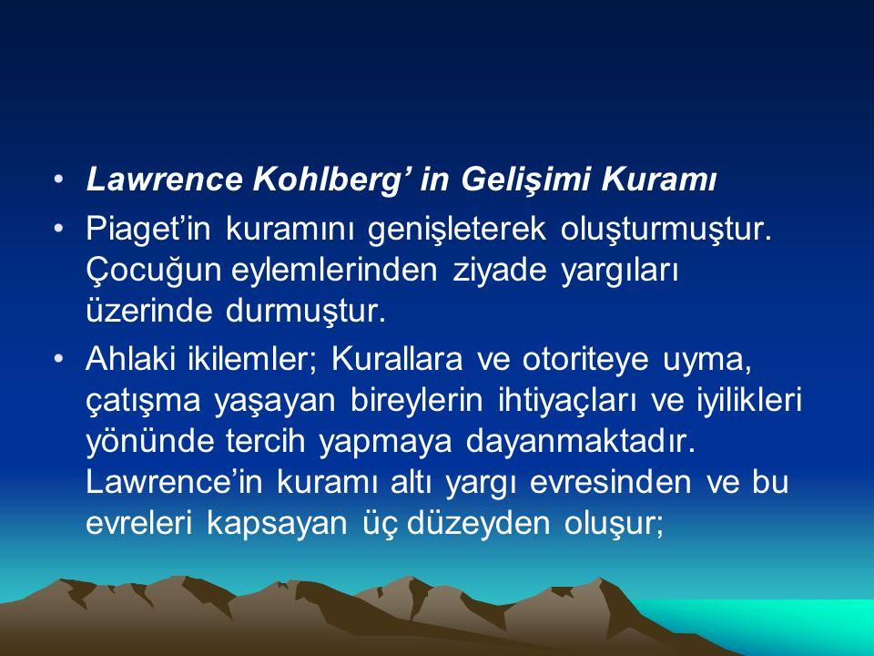 KOHLBERG'İN AHLAK GELİŞİM DÜZEYLERİ VE EVRELERİ Ahlak gelişim düzeyleri 1- Gelenek öncesi düzey Kurallar başkaları tarafından düzenlenir.