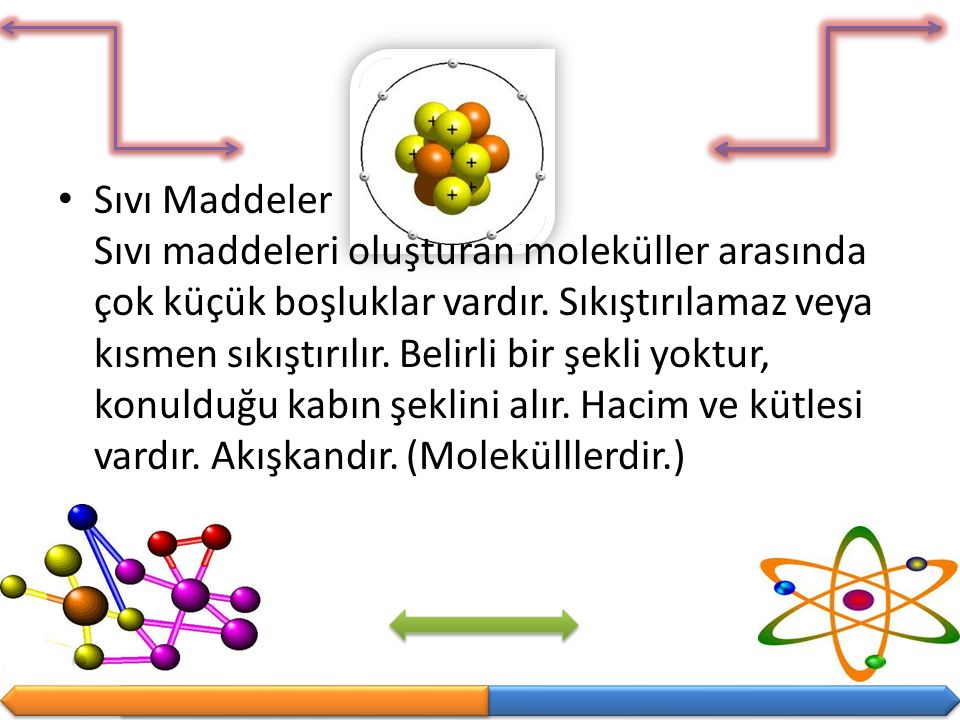 Sıvı Maddeler Sıvı maddeleri oluşturan moleküller arasında çok küçük boşluklar vardır. Sıkıştırılamaz veya kısmen sıkıştırılır. Belirli bir şekli yokt