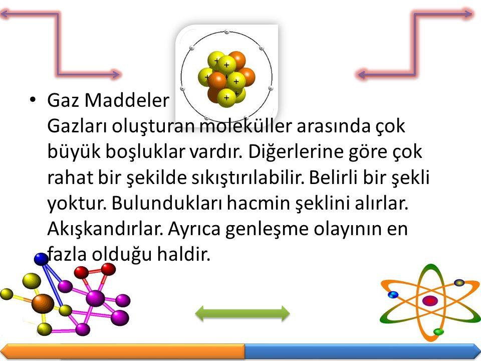 Gaz Maddeler Gazları oluşturan moleküller arasında çok büyük boşluklar vardır. Diğerlerine göre çok rahat bir şekilde sıkıştırılabilir. Belirli bir şe