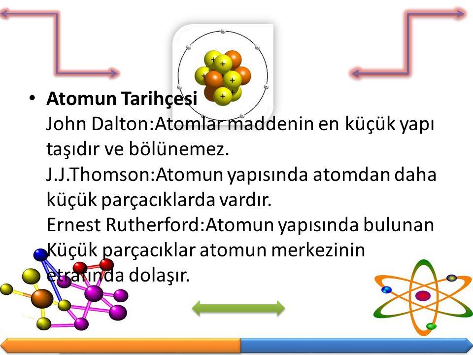 Atomun Tarihçesi John Dalton:Atomlar maddenin en küçük yapı taşıdır ve bölünemez. J.J.Thomson:Atomun yapısında atomdan daha küçük parçacıklarda vardır