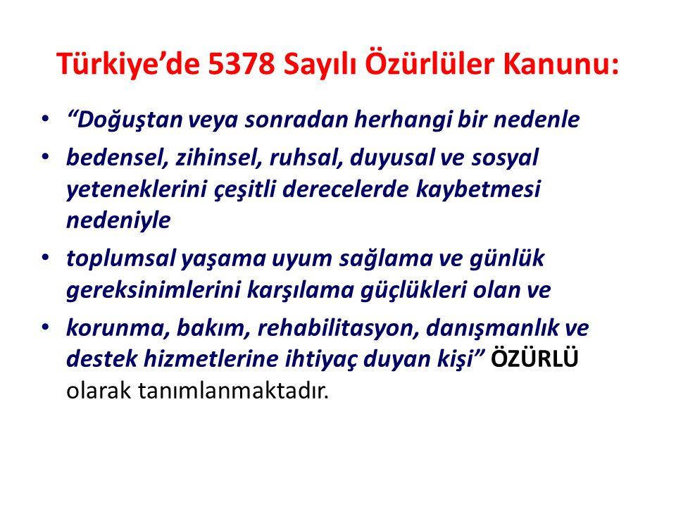"""Türkiye'de 5378 Sayılı Özürlüler Kanunu: """"Doğuştan veya sonradan herhangi bir nedenle bedensel, zihinsel, ruhsal, duyusal ve sosyal yeteneklerini çeşi"""