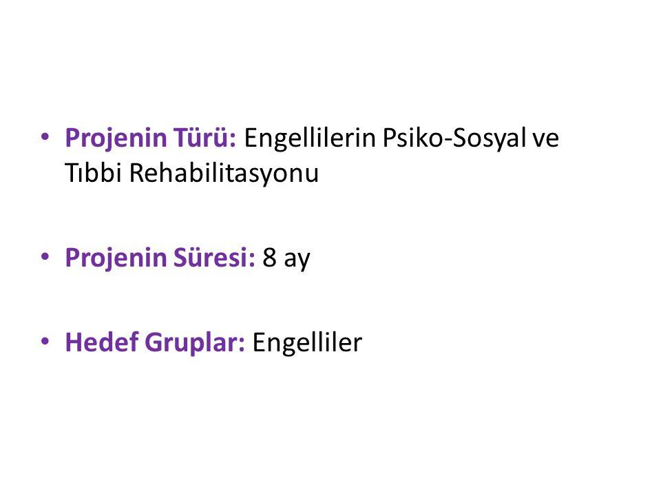 Projenin Türü: Engellilerin Psiko-Sosyal ve Tıbbi Rehabilitasyonu Projenin Süresi: 8 ay Hedef Gruplar: Engelliler