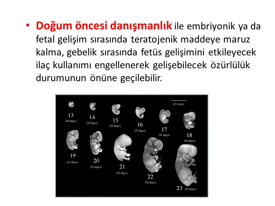 Doğum öncesi danışmanlık ile embriyonik ya da fetal gelişim sırasında teratojenik maddeye maruz kalma, gebelik sırasında fetüs gelişimini etkileyecek