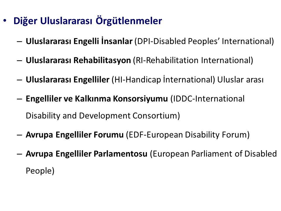 Diğer Uluslararası Örgütlenmeler – Uluslararası Engelli İnsanlar (DPI-Disabled Peoples' International) – Uluslararası Rehabilitasyon (RI-Rehabilitatio