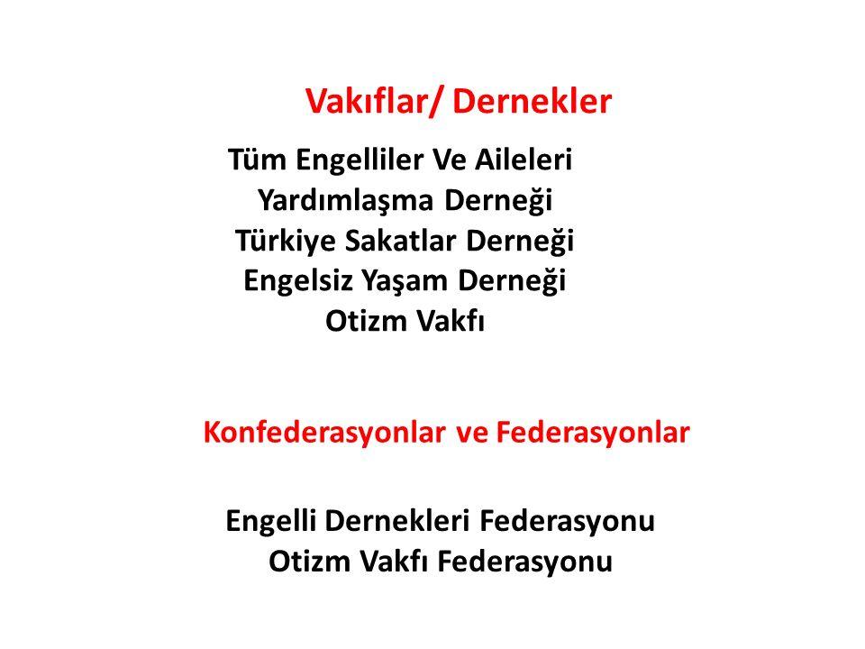 Vakıflar/ Dernekler Konfederasyonlar ve Federasyonlar Tüm Engelliler Ve Aileleri Yardımlaşma Derneği Türkiye Sakatlar Derneği Engelsiz Yaşam Derneği O