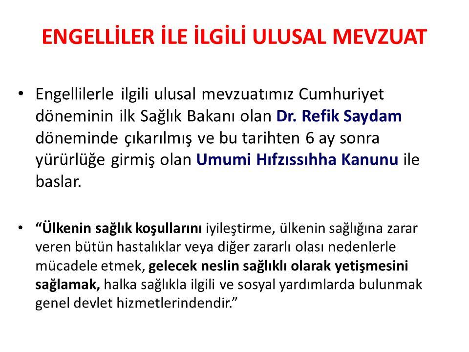 Engellilerle ilgili ulusal mevzuatımız Cumhuriyet döneminin ilk Sağlık Bakanı olan Dr. Refik Saydam döneminde çıkarılmış ve bu tarihten 6 ay sonra yür