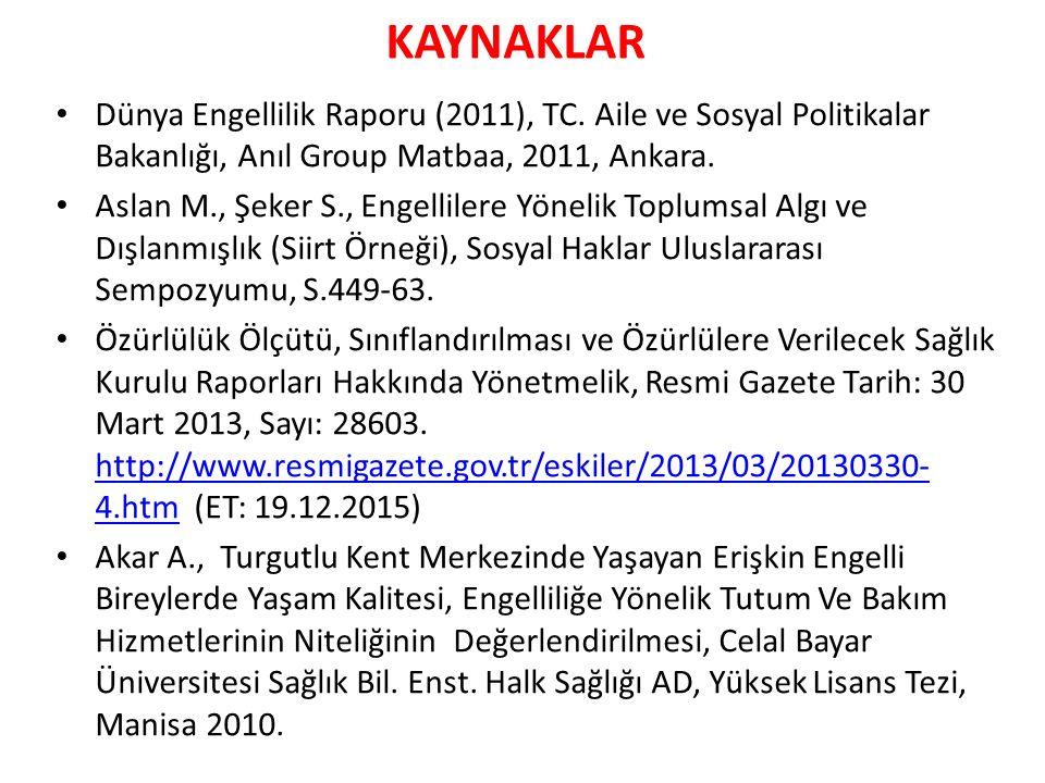 KAYNAKLAR Dünya Engellilik Raporu (2011), TC. Aile ve Sosyal Politikalar Bakanlığı, Anıl Group Matbaa, 2011, Ankara. Aslan M., Şeker S., Engellilere Y