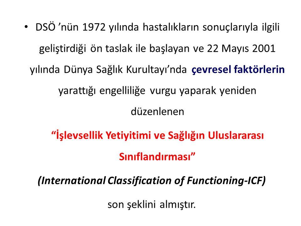 DSÖ 'nün 1972 yılında hastalıkların sonuçlarıyla ilgili geliştirdiği ön taslak ile başlayan ve 22 Mayıs 2001 yılında Dünya Sağlık Kurultayı'nda çevres