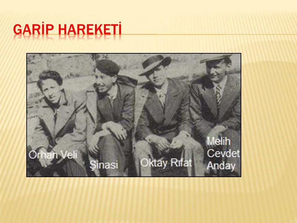1941'de Orhan Veli Kanık, Melih Cevdet Anday ve Oktay Rifat Horozcu adlı şairler; şiirde var olan aşırı duygusallığa, şairaneliğe, basmakalıp söyleyişe başkaldıran şiirlerini Garip adlı bir kitapta yayımlamışlar, kitabın kapağına, Bu kitap, sizi, alışılmış şeylerden şüpheye davet edecektir. Yazılı bir ibare koymuşlardır.