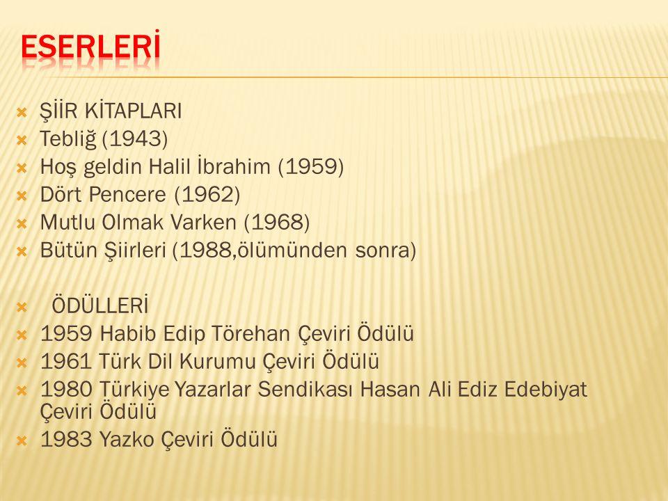  ŞİİR KİTAPLARI  Tebliğ (1943)  Hoş geldin Halil İbrahim (1959)  Dört Pencere (1962)  Mutlu Olmak Varken (1968)  Bütün Şiirleri (1988,ölümünden