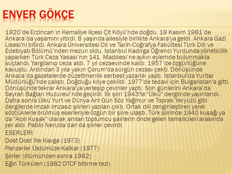 1920'de Erzincan'ın Kemaliye ilçesi Çit Köyü'nde doğdu. 19 Kasım 1981'de Ankara'da yaşamını yitirdi. 8 yaşında ailesiyle birlikte Ankara'ya geldi. Ank