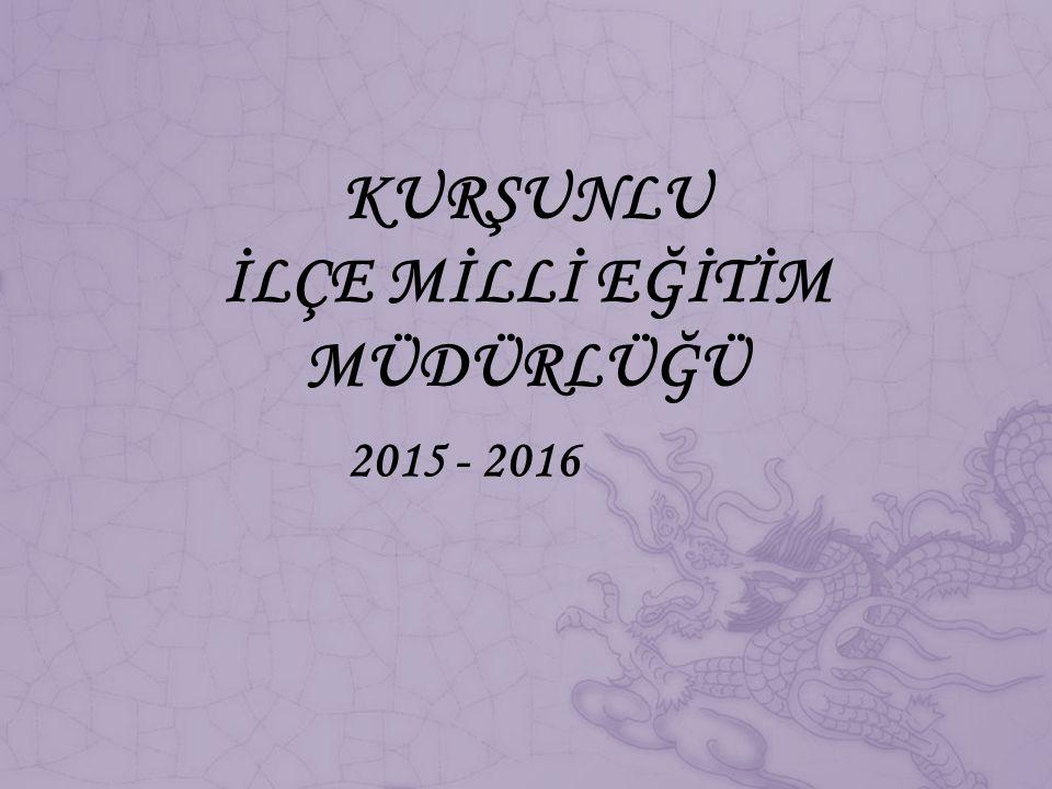 KURŞUNLU İLÇE MİLLİ EĞİTİM MÜDÜRLÜĞÜ 2015 - 2016