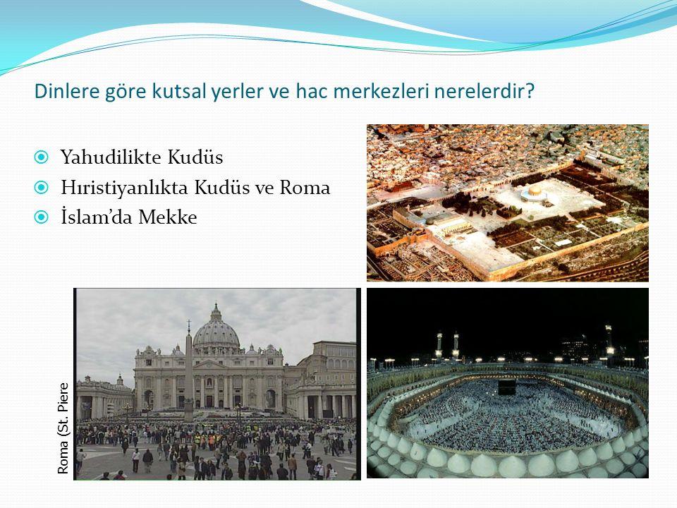 Dinlere göre kutsal yerler ve hac merkezleri nerelerdir.