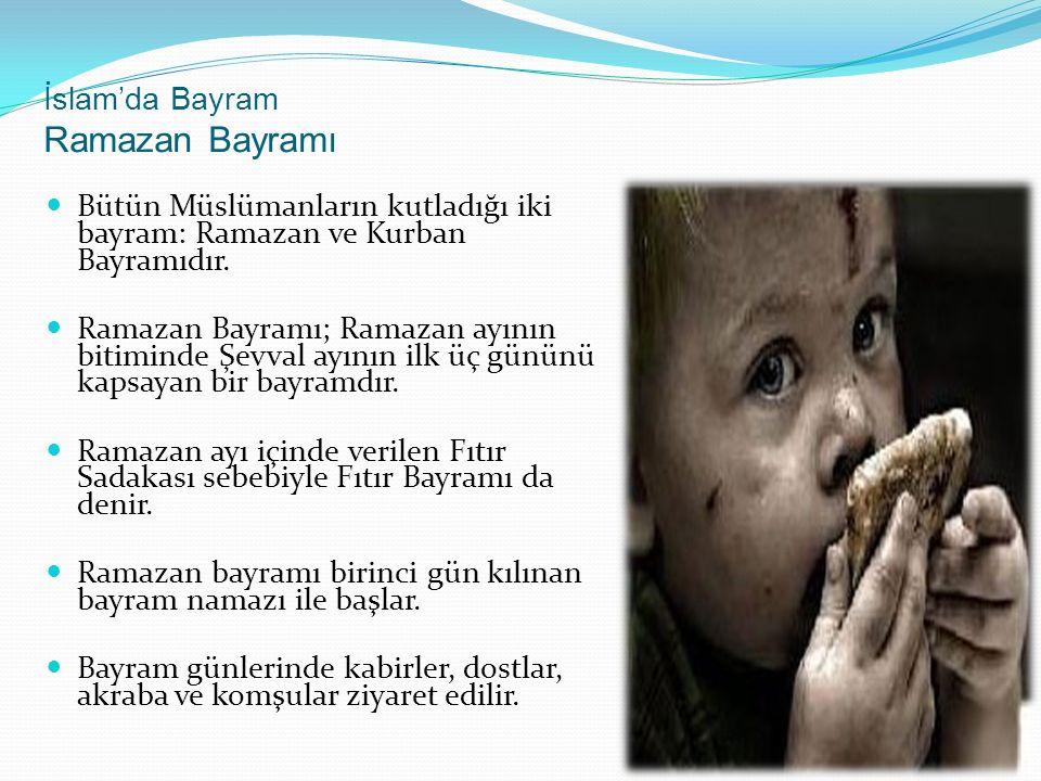 İslam'da Bayram Ramazan Bayramı Bütün Müslümanların kutladığı iki bayram: Ramazan ve Kurban Bayramıdır.