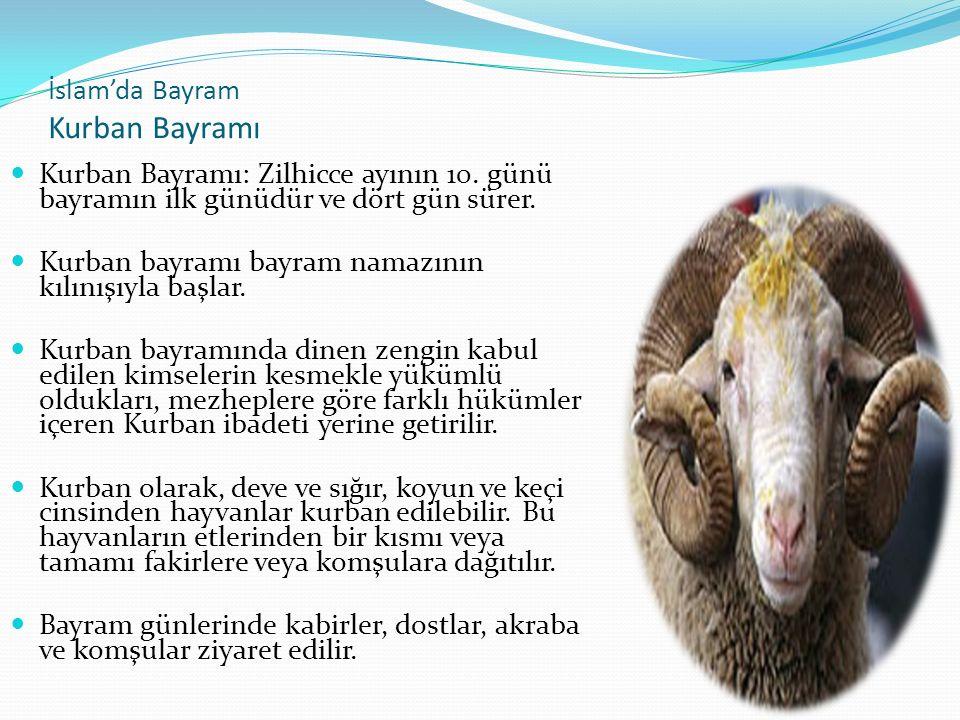 İslam'da Bayram Kurban Bayramı Kurban Bayramı: Zilhicce ayının 10.