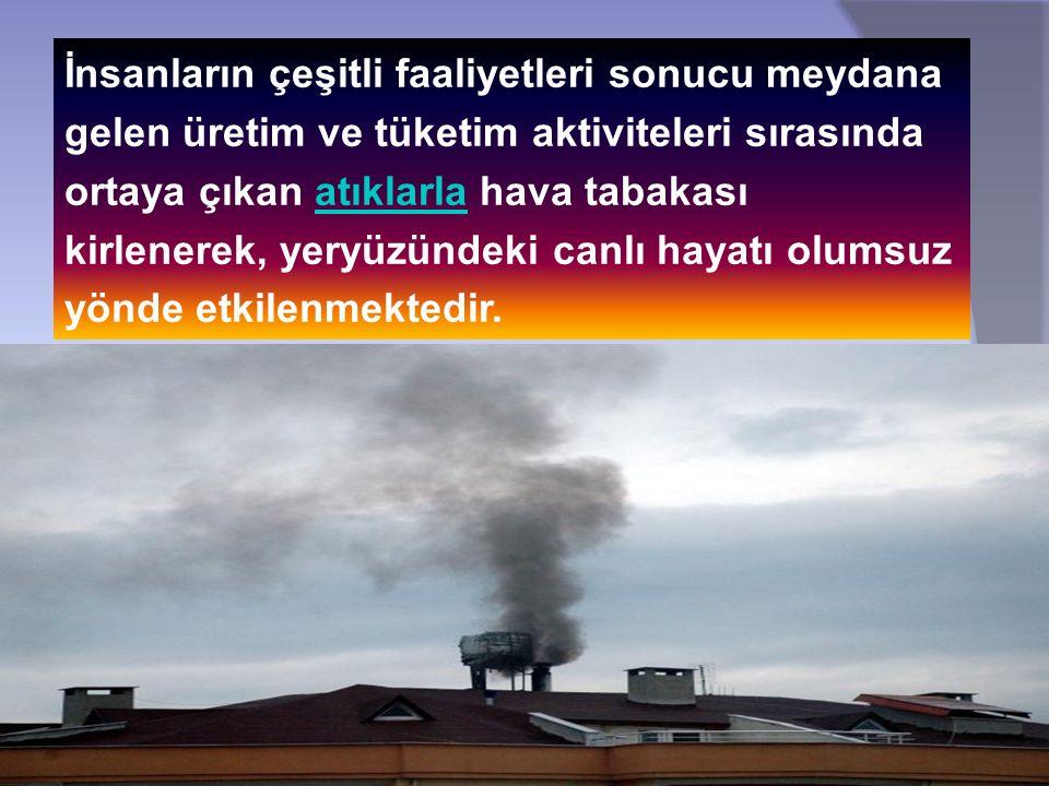 İnsanların çeşitli faaliyetleri sonucu meydana gelen üretim ve tüketim aktiviteleri sırasında ortaya çıkan atıklarla hava tabakası kirlenerek, yeryüzü