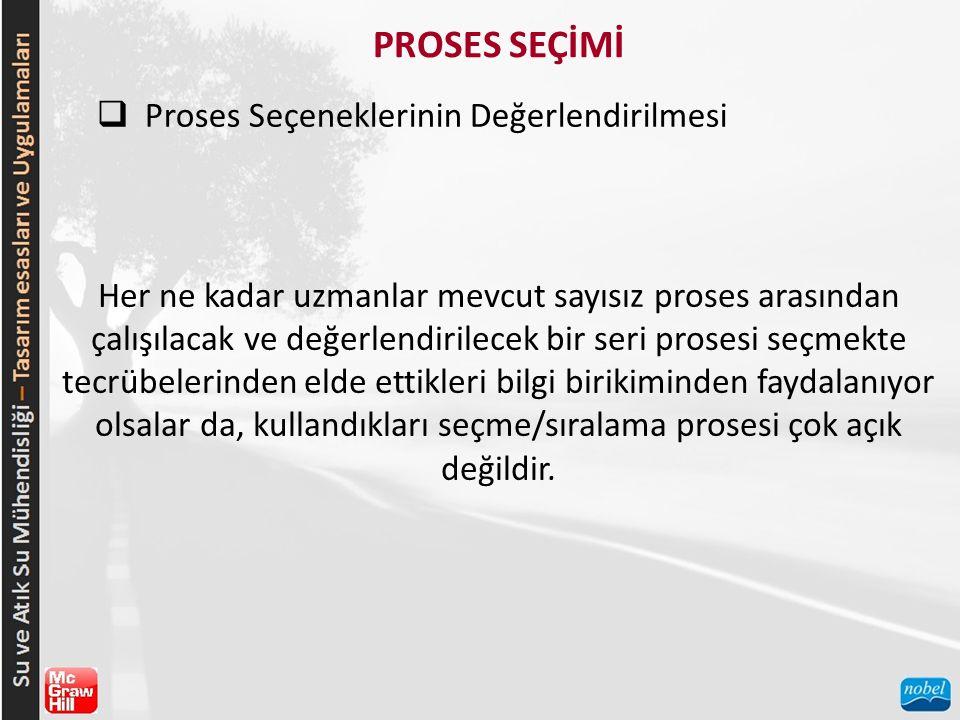 PROSES SEÇİMİ  Proses Seçeneklerinin Değerlendirilmesi Her ne kadar uzmanlar mevcut sayısız proses arasından çalışılacak ve değerlendirilecek bir seri prosesi seçmekte tecrübelerinden elde ettikleri bilgi birikiminden faydalanıyor olsalar da, kullandıkları seçme/sıralama prosesi çok açık değildir.