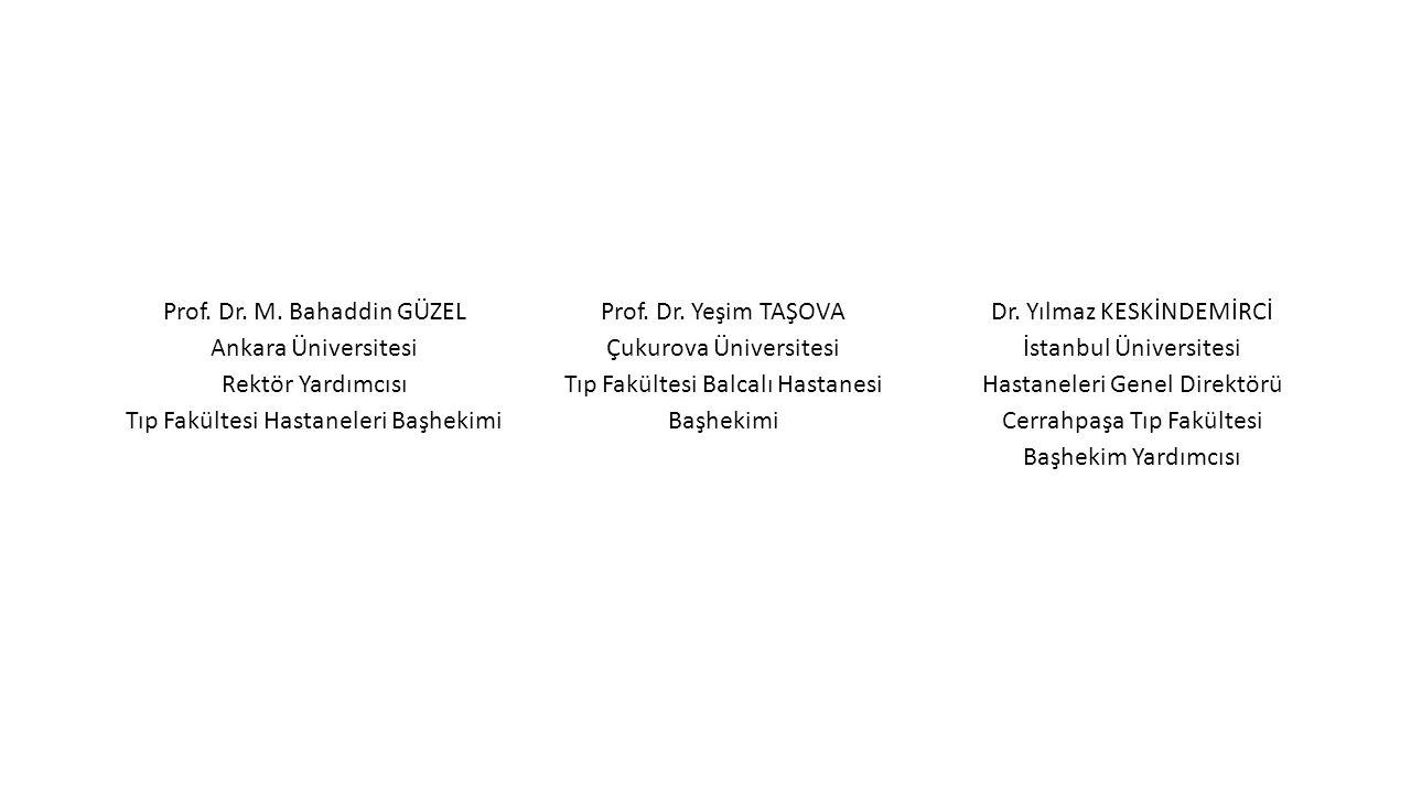 Prof. Dr. M. Bahaddin GÜZEL Ankara Üniversitesi Rektör Yardımcısı Tıp Fakültesi Hastaneleri Başhekimi Prof. Dr. Yeşim TAŞOVA Çukurova Üniversitesi Tıp