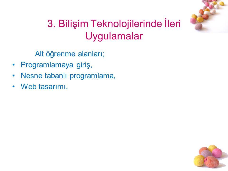 # 3. Bilişim Teknolojilerinde İleri Uygulamalar Alt öğrenme alanları; Programlamaya giriş, Nesne tabanlı programlama, Web tasarımı.