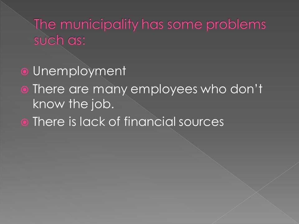  Unemployment  There are many employees who don't know the job.  There is lack of financial sources