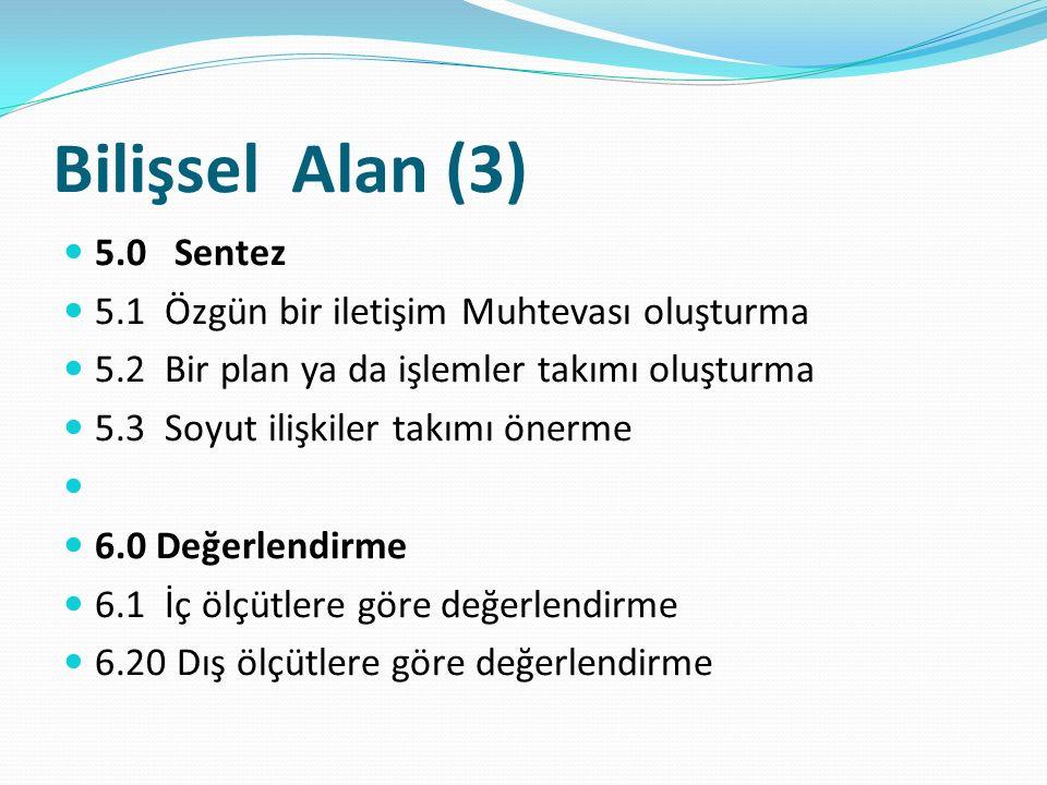 Bilişsel Alan (3) 5.0 Sentez 5.1 Özgün bir iletişim Muhtevası oluşturma 5.2 Bir plan ya da işlemler takımı oluşturma 5.3 Soyut ilişkiler takımı önerme