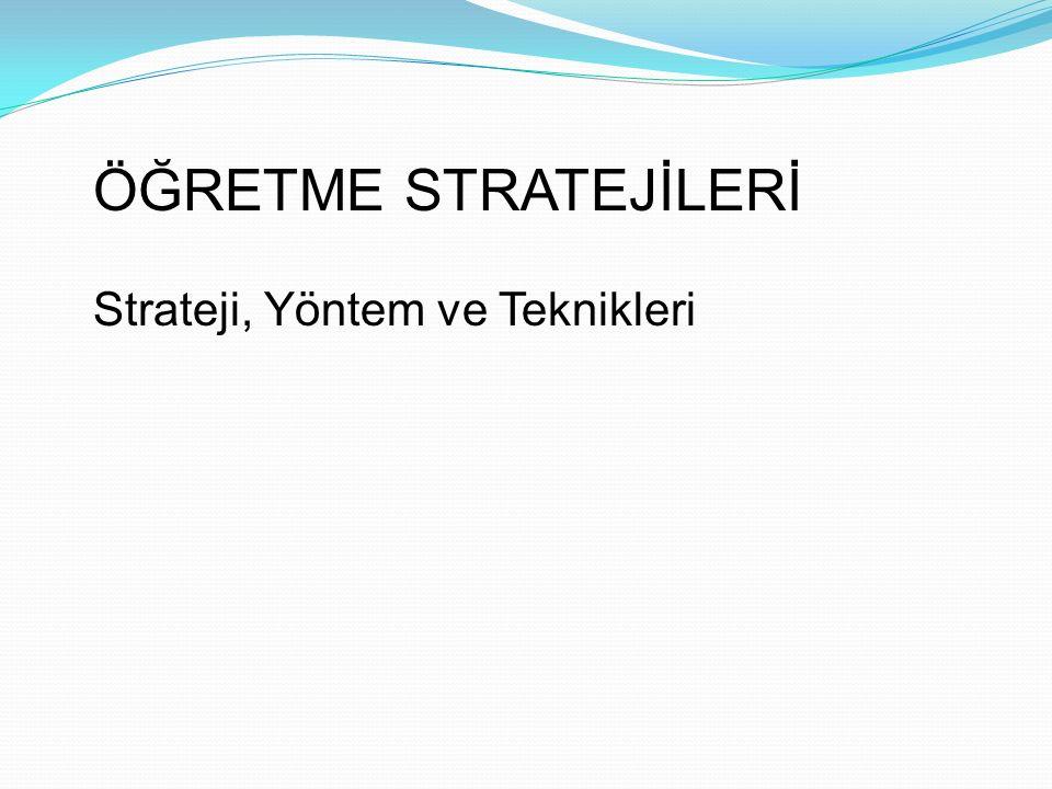 ÖĞRETME STRATEJİLERİ Strateji, Yöntem ve Teknikleri